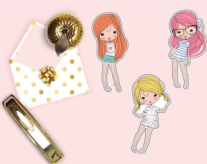Cute girls die cut beautiful girl planner die cuts scrapbook accessory paper decor