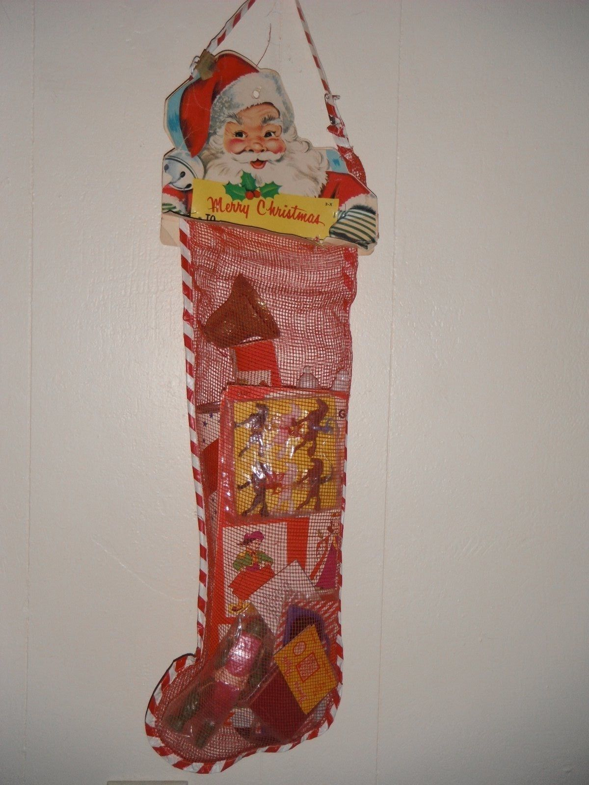 Vintage,1950\'s,Mesh, Christmas, Stocking, Child\'s, Toys, Games | Old ...