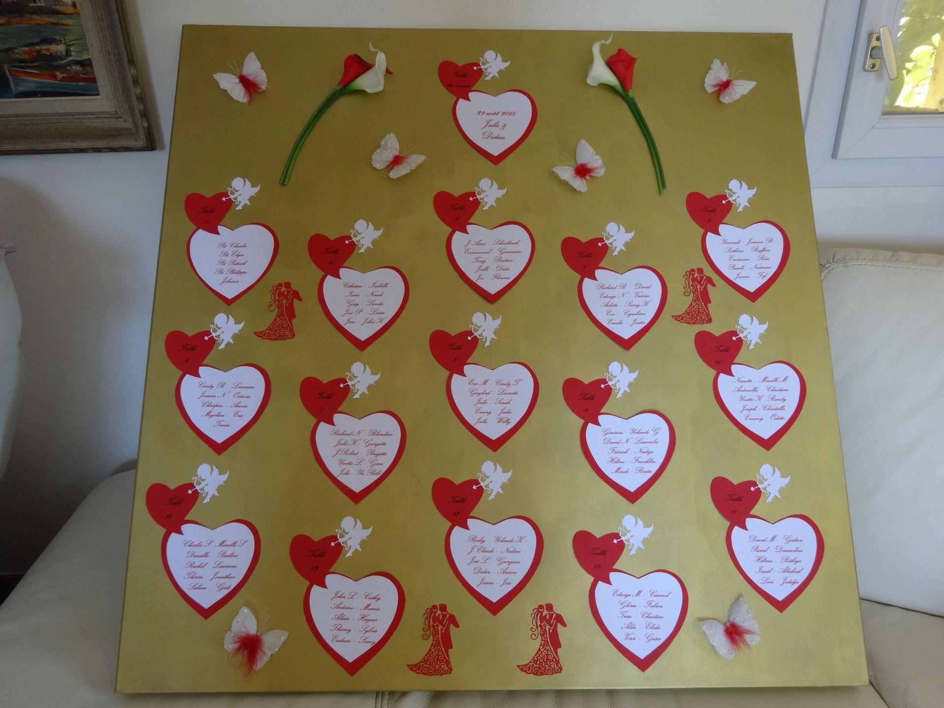 Plan de tables pour mariage sur le th me des couleurs or - Exemple plan de table mariage ...