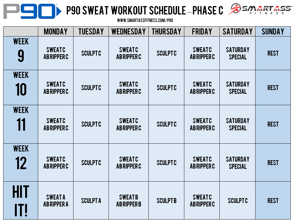 P Workout Schedule Sweat  Weight Loss Meals    P
