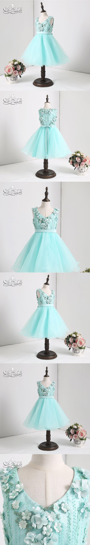 QSYYE 2018 Tiffany Blue Cute Flower Girl Dresses 3D Floral Flowers V Neck  Keen Length Tulle 84db579d56cd