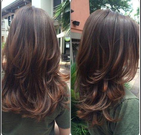 Stufenschnitt Lange Haare Fryzury Pinterest ヘアスタイル