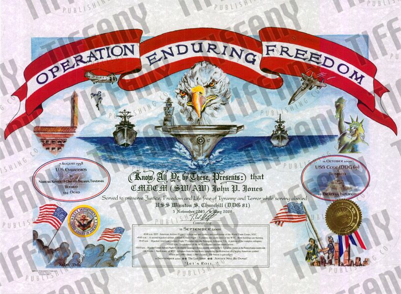 Operation Enduring Freedom Certificate | AFGHANISTAN | Pinterest ...