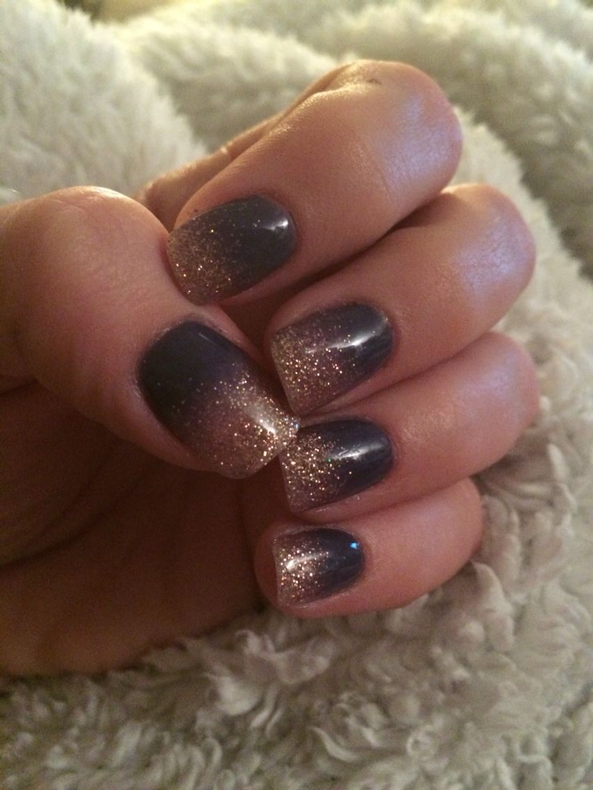 ANC ombré Indigo with gold | Nails | Pinterest | Nail color designs ...