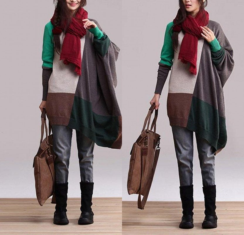 Green Patchwork Irregular loose sweater / cotton by dreamyil, $108.00