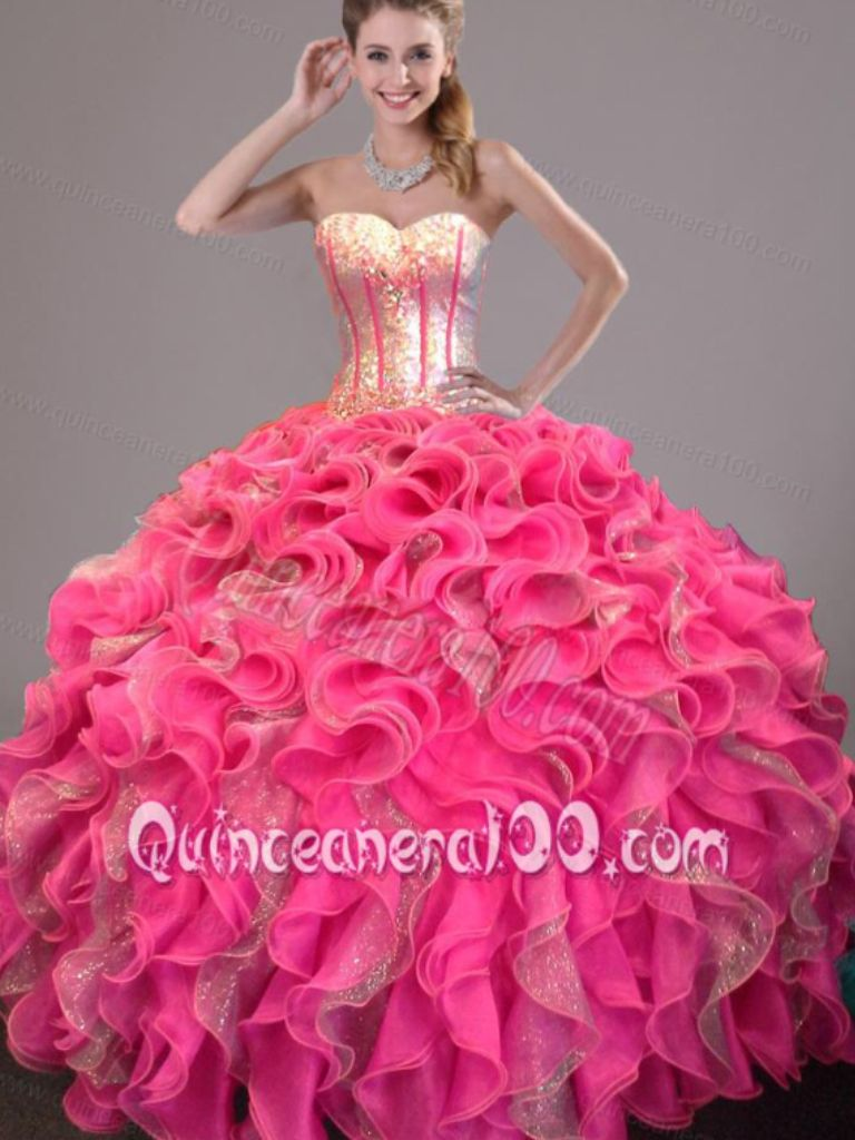 Luxury Gold Lace Appliques Ball Gown Pink Puffy Tulle Long ...  Pink Gold Dress