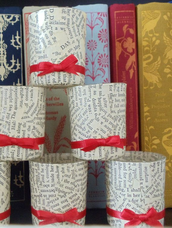 Glass Votive Candle Holders with Decoupaged Book Pages and