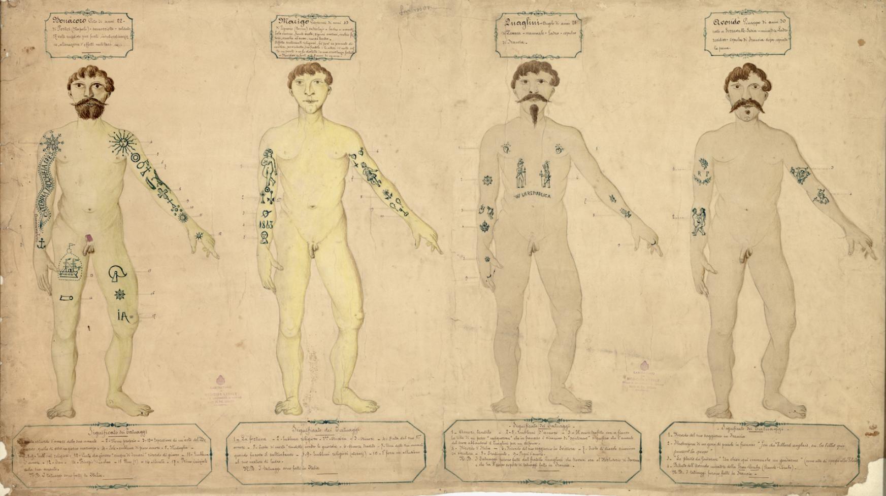 Tatuaggi religiosi, tatuaggi nobiliari, tatuaggi che facevano arrabbiare Lombroso, tatuaggi della camorra: a proposito della tradizione perduta dei tatuaggi in Italia.