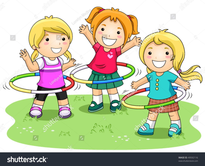 Children Playing Hula Hoops In The Park Vector Ad Ad Hula Playing Children Vector Friendship Kids Clip Art Cartoon Kids
