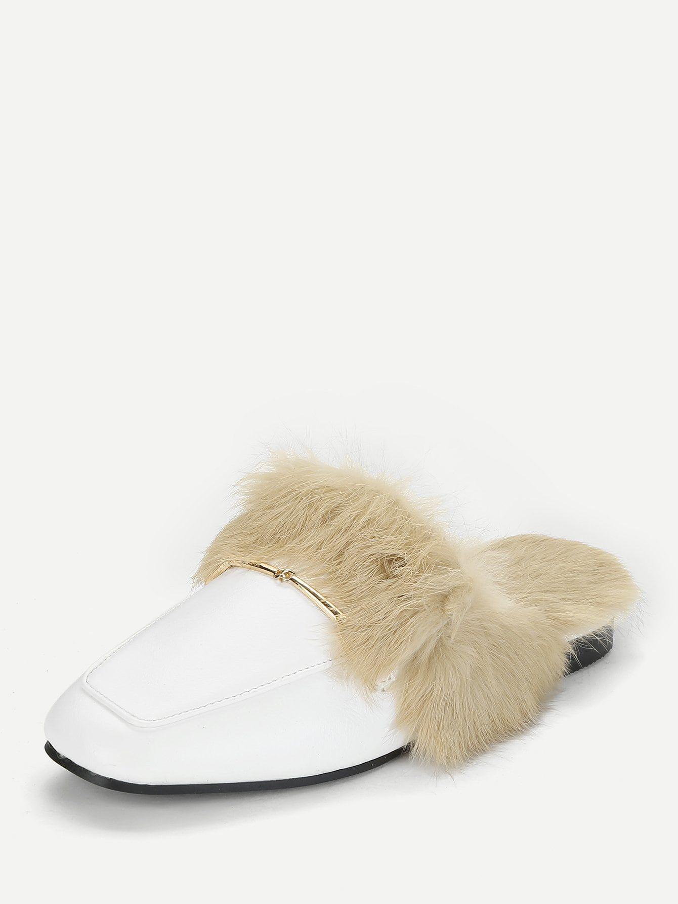 Square Toe White Faux Fur Slip On Mules
