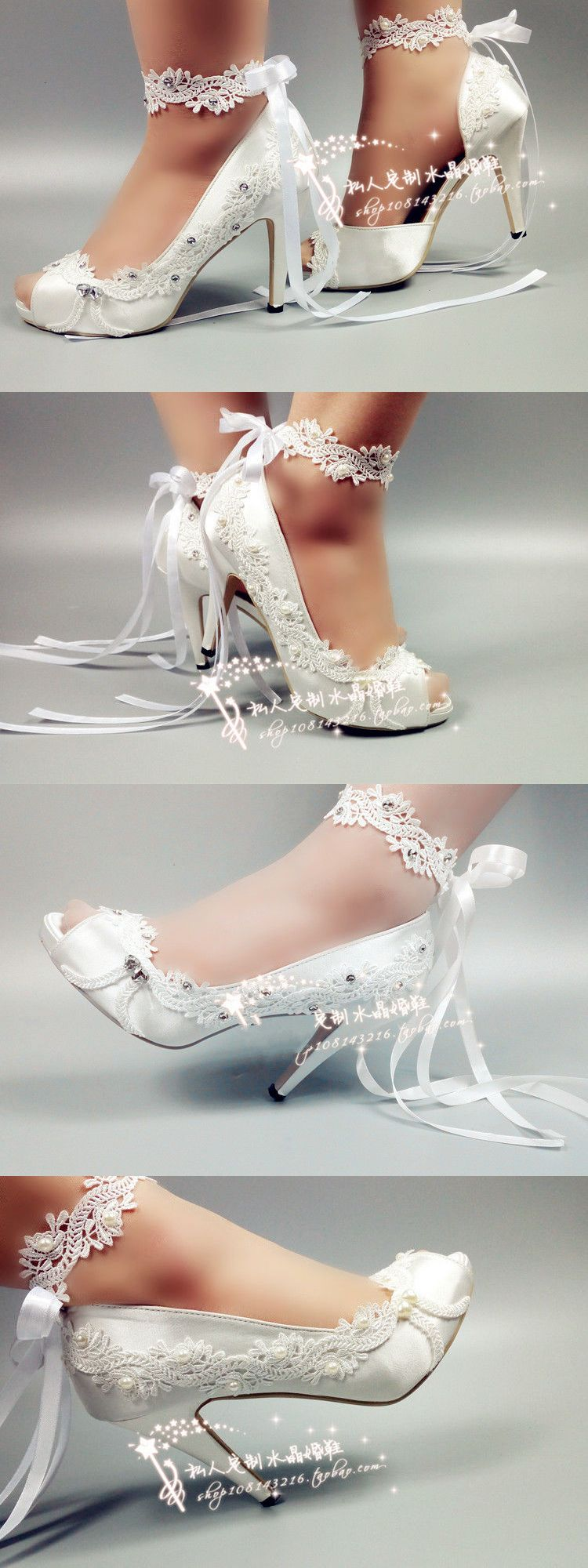 Wedding Shoes And Bridal Shoes: 3 4 Heel Satin White Ivory Lace Ribbon Ankle Open Toe Wedding Shoes Size 5-9.5 -> BUY IT NOW ONLY: $39.99 on eBay!