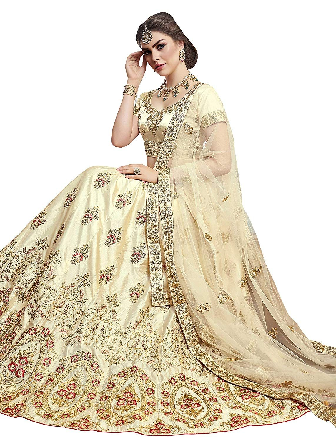 a3c279f978 Manvaa Women S Silk Embroidered Lehenga Choli In Beige Color  Amazon.in   Clothing   Accessories