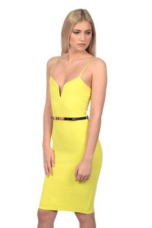 Naida Gold Belted Lime Green Bodycon Dress