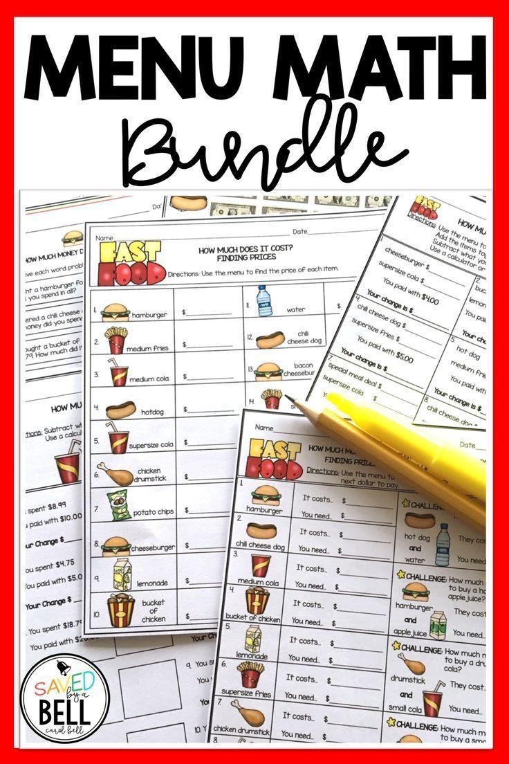 Money Worksheets and Word Problems Bundle Menu Math