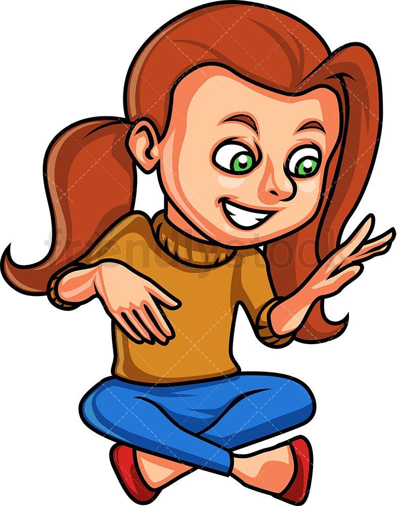 Little Girl Playing Air Guitar Cartoon Vector Clipart Friendlystock Guitar Kids Cartoons Vector Cartoon Clip Art