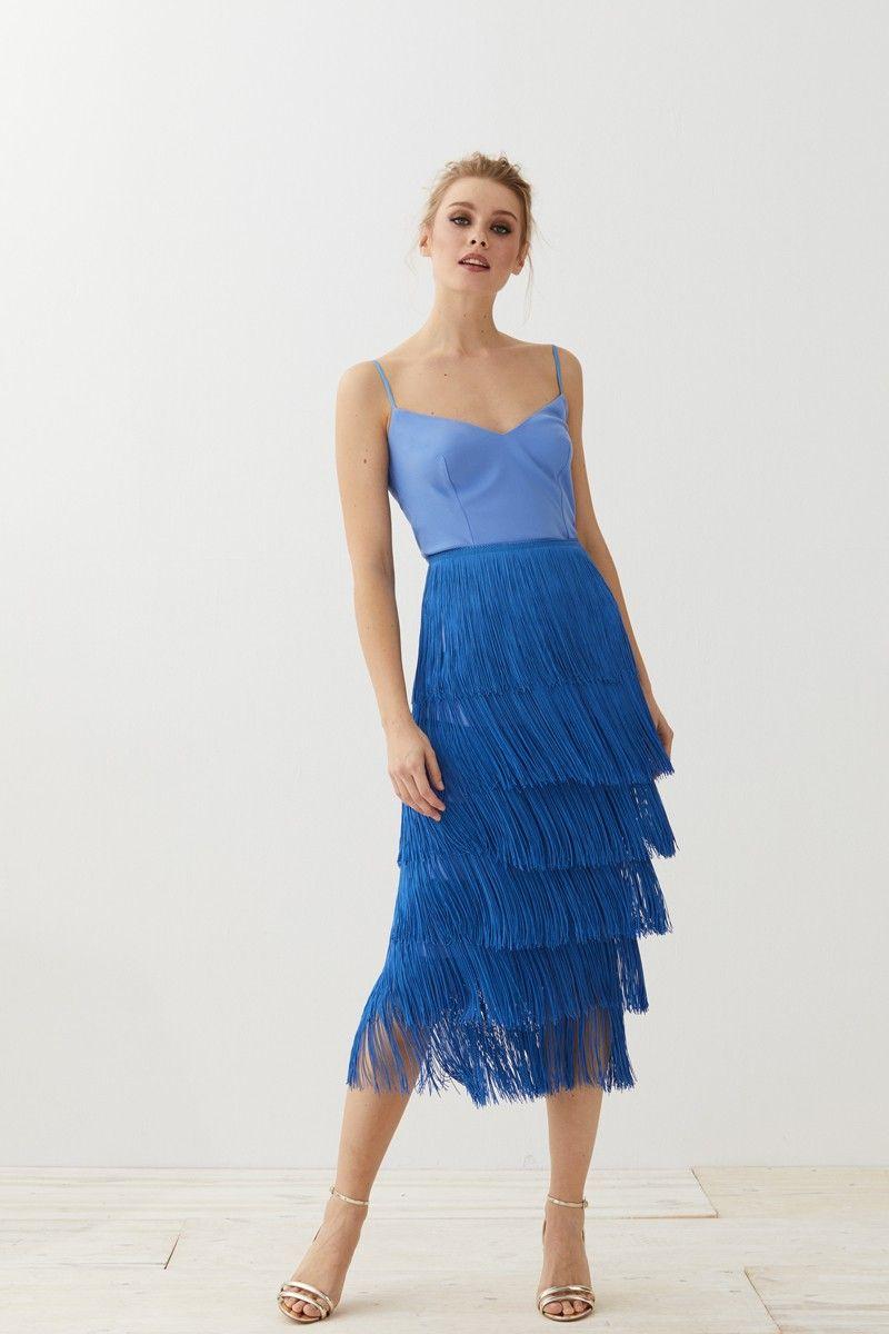 ab20b9caf falda de flecos azul para invitadas de boda apparentia eventos comuniones  bautizos shopping online