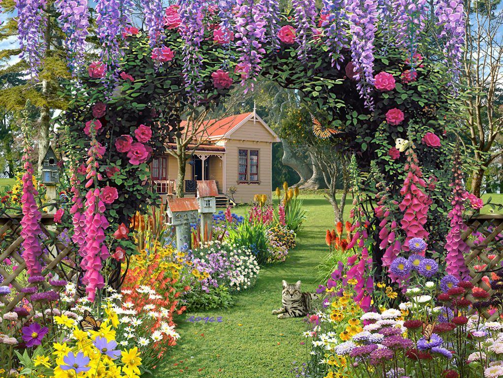 Lawn & Garden:Pretty Garden Design With Purple Hanging Flower Plant ...