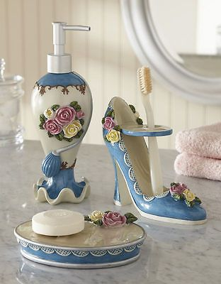 Victorian Rose Fl Flower Lady High Heel Shoe Blue Bath Accessory Set Decor View More On The Link Http Www Zeppy Io Product Gb 2 191714853230