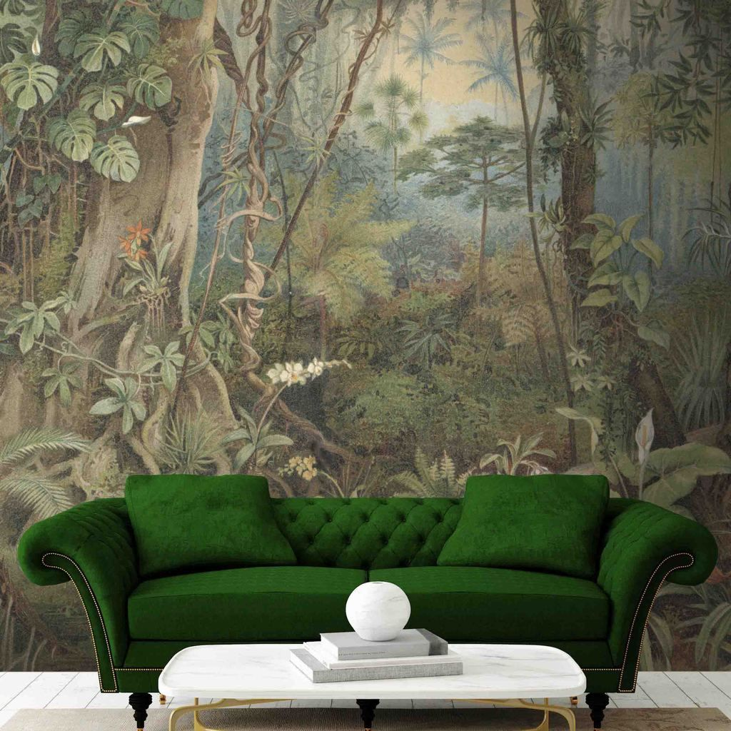 Tropical Paradise Jungle Wall Mural (With images) Jungle