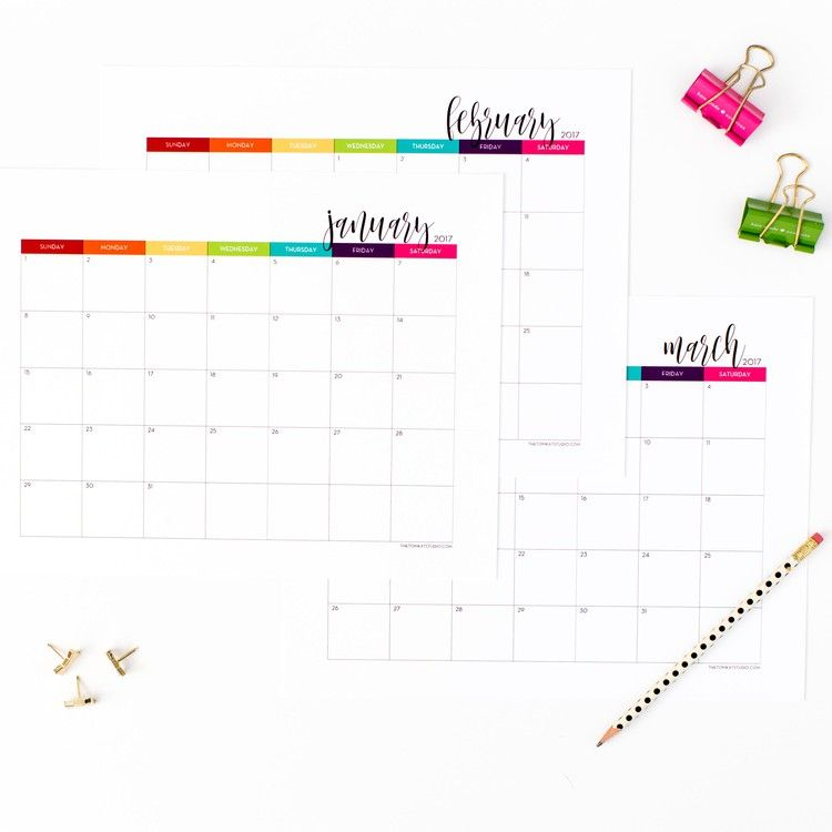 2017 write in printable calendar at the tomkat studio awesome