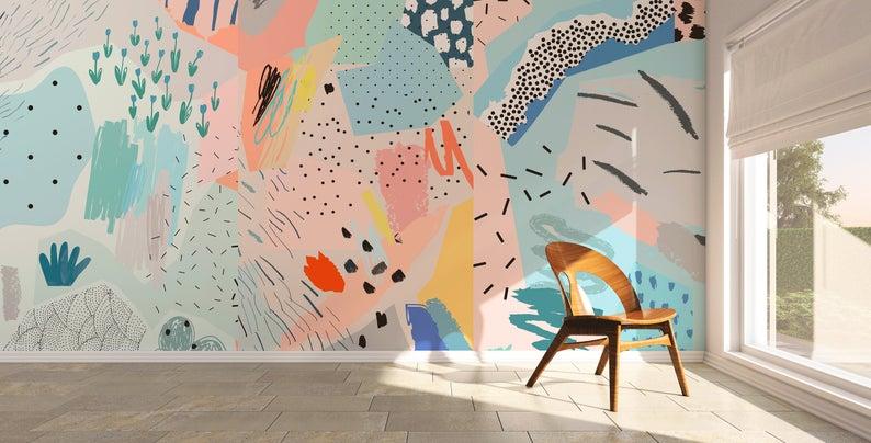 Removable Wallpaper Peel And Stick Wallpaper Wall Paper Wall Etsy In 2020 Removable Wallpaper Wall Wallpaper Mural Wall Art