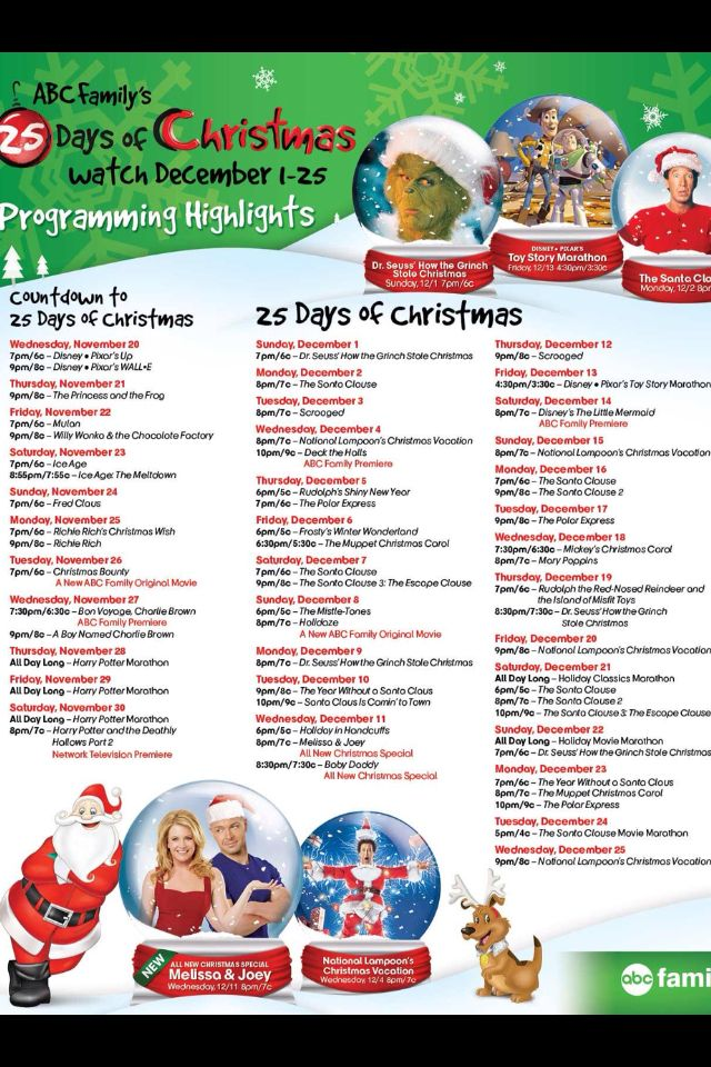 its almost that time of year again when we get to watch fun christmas and holiday movies below is a huge list with the abc family 25 days of christmas - Abc Family 25 Days Of Christmas Schedule