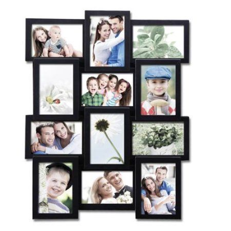 Adeco 12 Pening Plastic Black Wall Hanging Collage Photo Frame Collage Picture Frames Picture Collage Hanging Photos