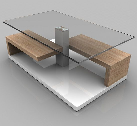 Tim Clear Glass Coffee Table With White Gloss And Oak Base Mesa de