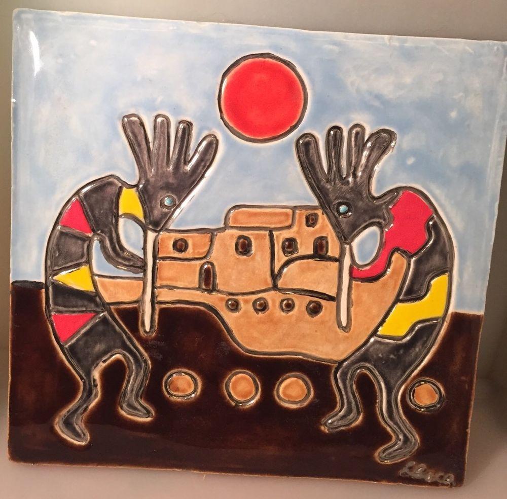 Details About Pueblo Indian Red Adobe New Mexico South West Tile Trivet Coaster Wall Art Tile Art West Art Desert Art