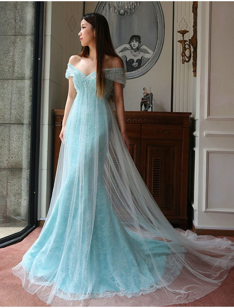 Blue Lace Tulle Evening Dress Off The Shoulder Prom Dress Lace ...