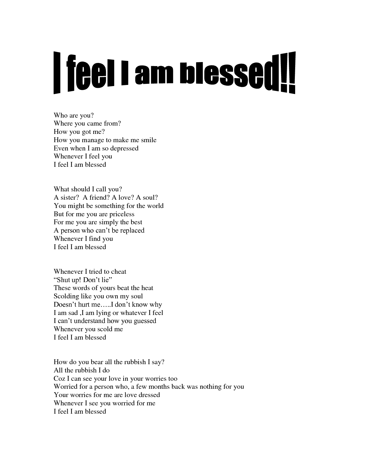 I AM Blessed Poems | feel I am blessed | Places to Visit