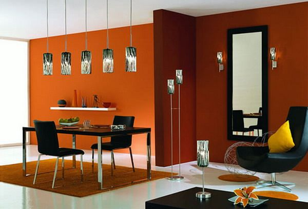 Comfortable Decorating Orange Dining Room Design Ideas