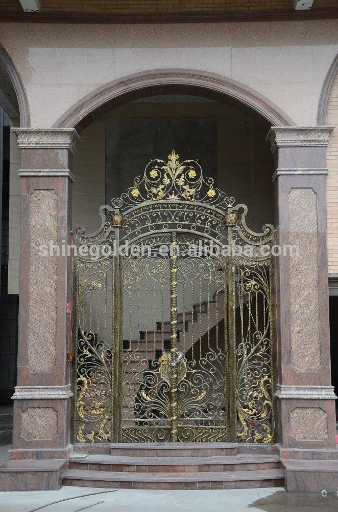 2016 French Design Copper Color Wrought Iron Arch Grill Garden Gates   Buy  Garden Gates,Cheap Wrought Iron Gates,French Design Garden Gate Product On  ...