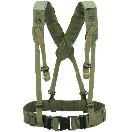 33bab93bd8e Mens Military Army Style LC2 X Back Suspenders Utility Web Belt OD Green  Black