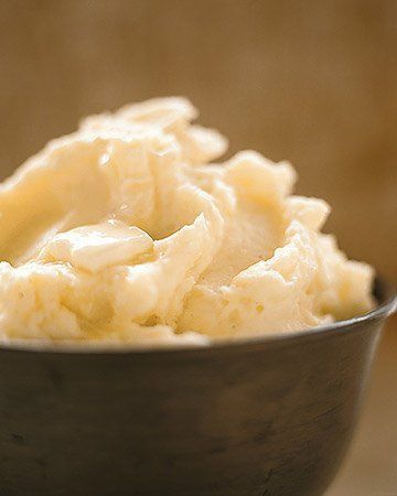 Perfect Mashed Potatoes by Martha Stewart. For stiffer mashed potatoes, use only three-fourths cup milk or cream; for richer potatoes, add another two tablespoons butter.