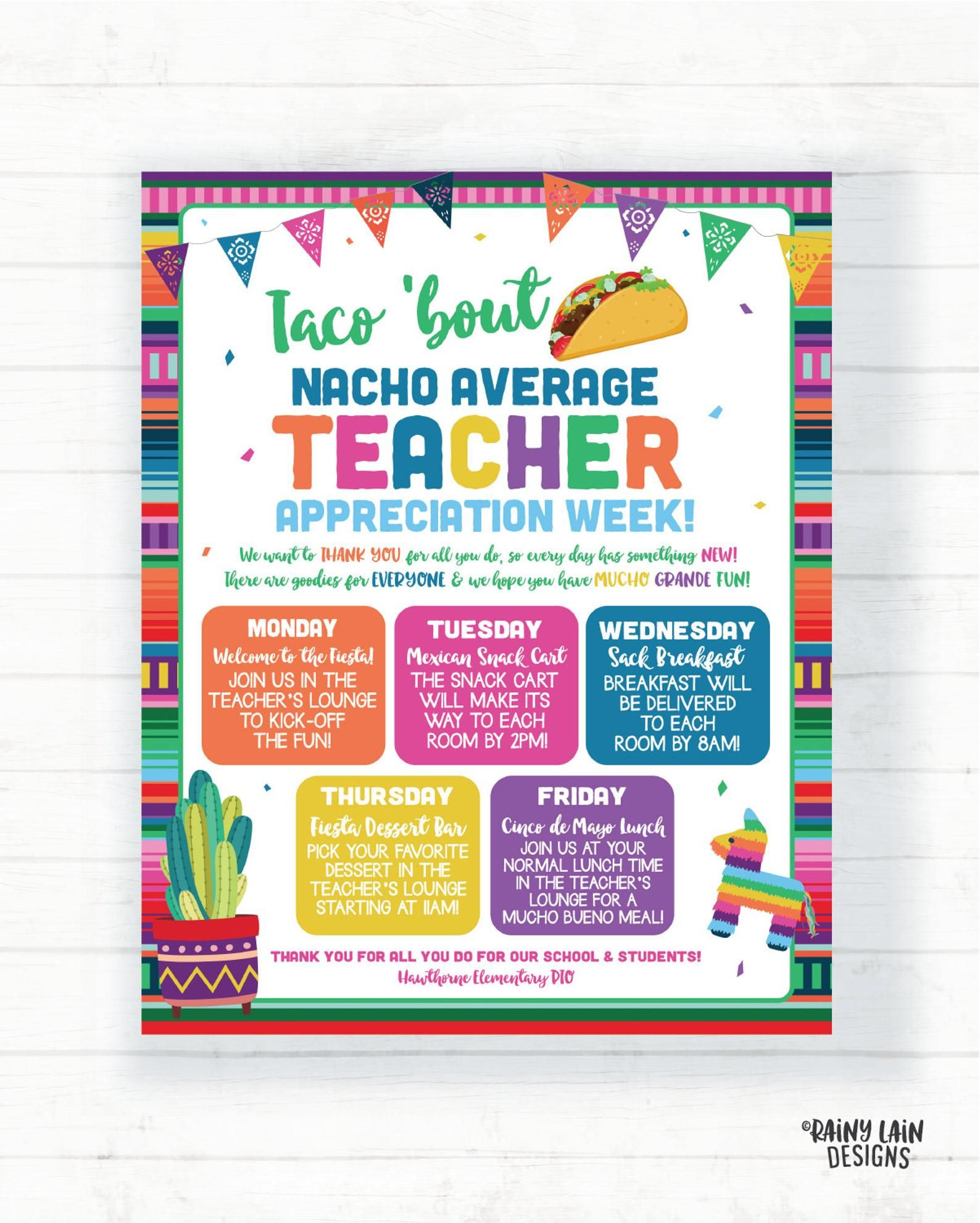 Teacher Appreciation Week Schedule Teacher Appreciation Etsy Teacher Appreciation Week Themes Teacher Appreciation Week Schedule Teacher Appreciation Week