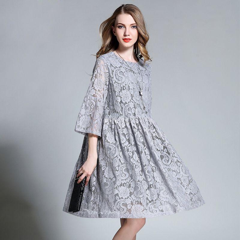 2017 European Design Spring Autumn Women Floral Lace Dresses Plus