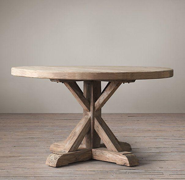 distressed elm belgian trestle round dining table m bel. Black Bedroom Furniture Sets. Home Design Ideas