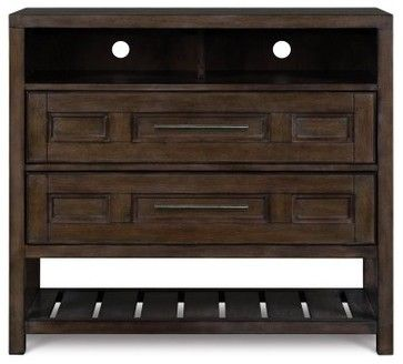Eastlake Wood Media Chest - Washed Hazelnut - modern - dressers chests and bedroom armoires - Hayneedle