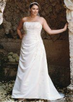 David's Bridal Wedding Dress: A-line Side Drape Strapless Gown Style 9V9665