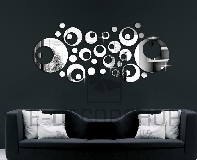 silver mirror wall decal stickers home decor living room on wall stickers for living room id=24274