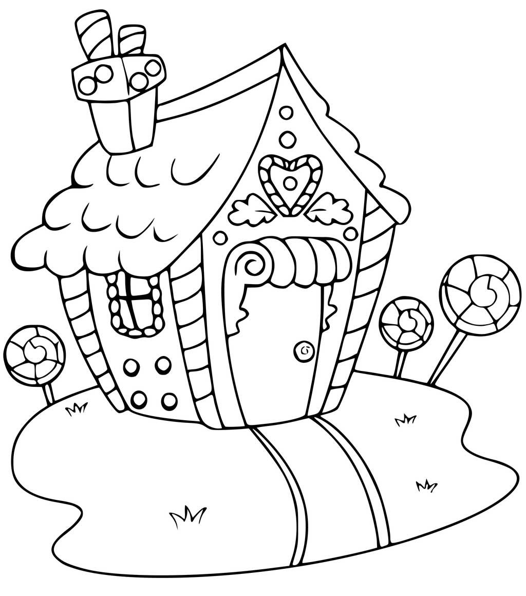 Gingerbread house home holiday christmas Coloring page