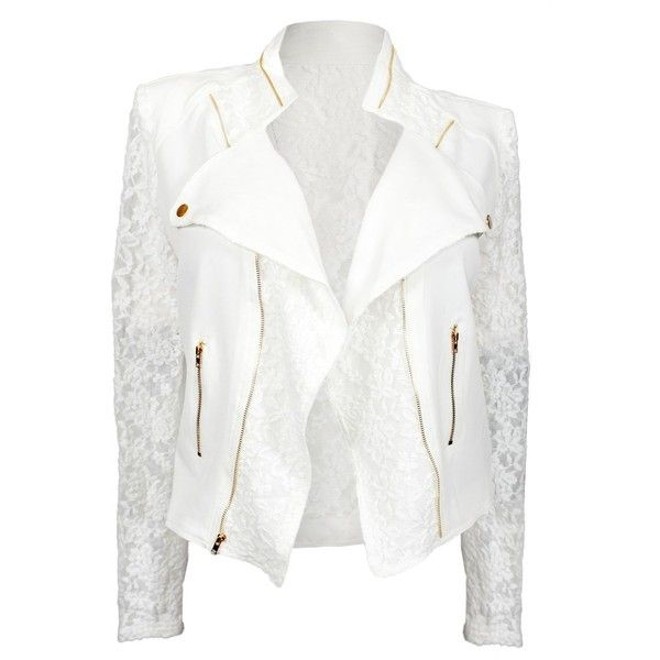 4ae03066b2e eVogues Plus Size Open Front Lace Sleeve Jacket White ( 38) ❤ liked on  Polyvore