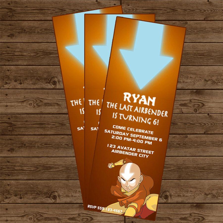 Avatar: The Last Airbender Ticket Invitation