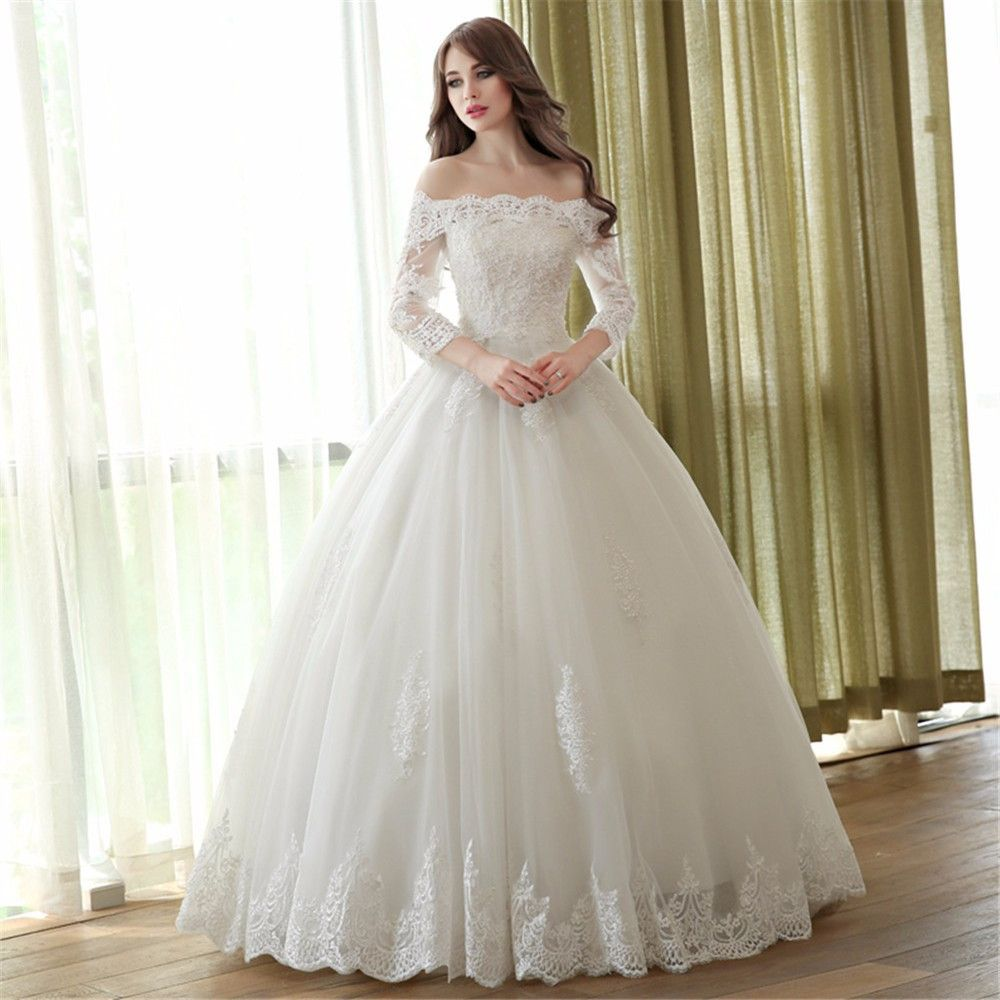 Gothic Lace Ball Gown Wedding Dresses 2016 With Sheer Boat Neck 3/4 ...