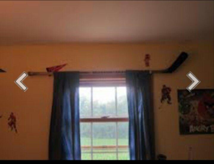 Hockey Stick Curtain Rod Hockey Room Boys Bedrooms Home