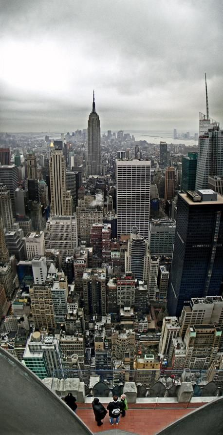 NYC. Vertical panoramic of New York City from the top of