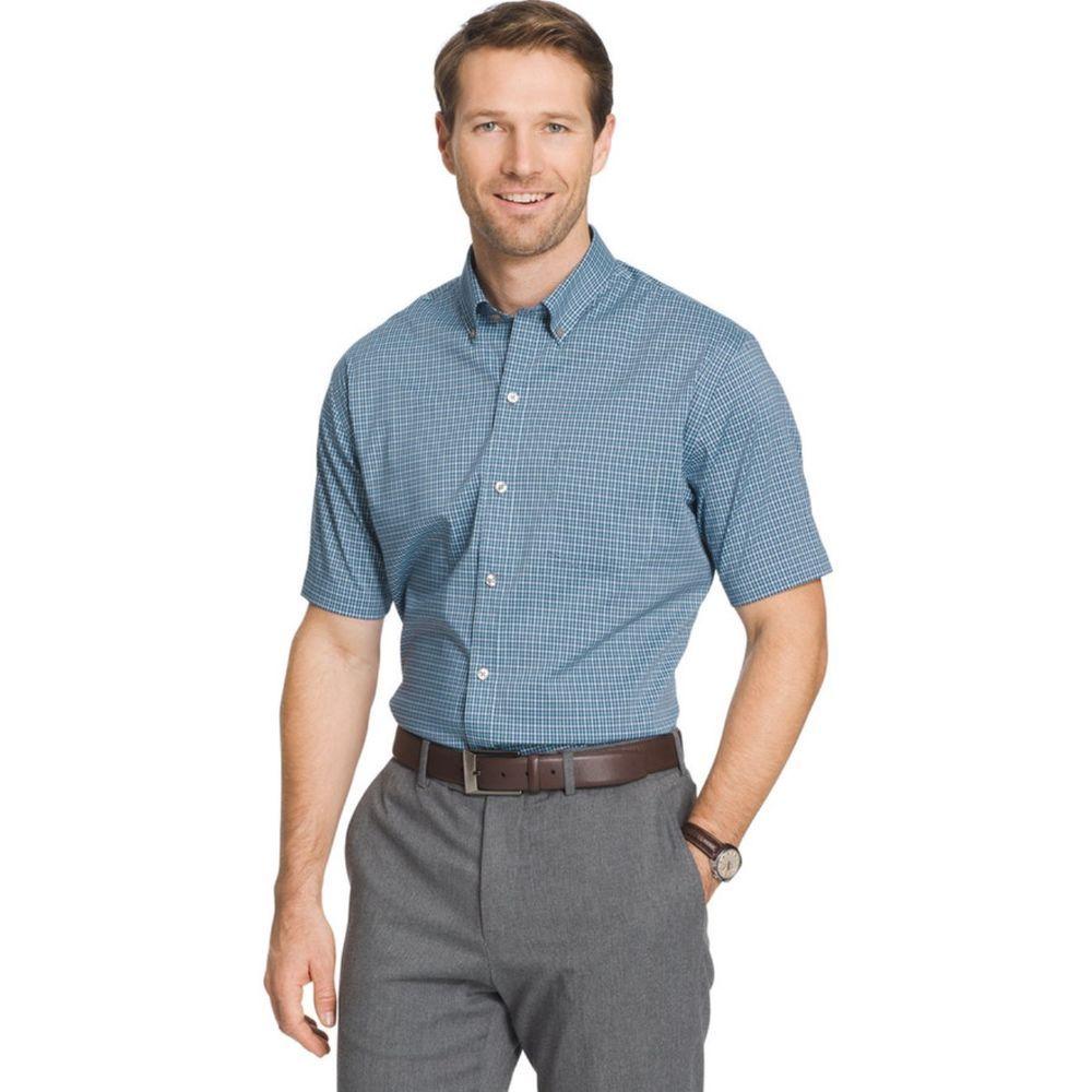 b1a0f97b1d9 Van Heusen Men s Flex Classic Fit Plaid Short Sleeve Button Down Shirt   VanHeusen  ButtonFront