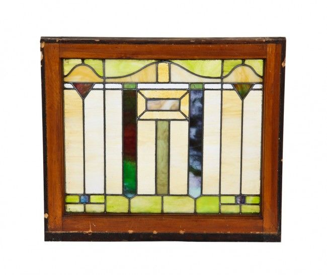 Original And Intact Antique American Craftsman Style Interior Chicago Bungalow Variegated Stained Glass Transom Window Featuring Nicely Arranged Geometric Shape Arts Crafts Style Craftsman Style Interiors Stained Glass Lamps