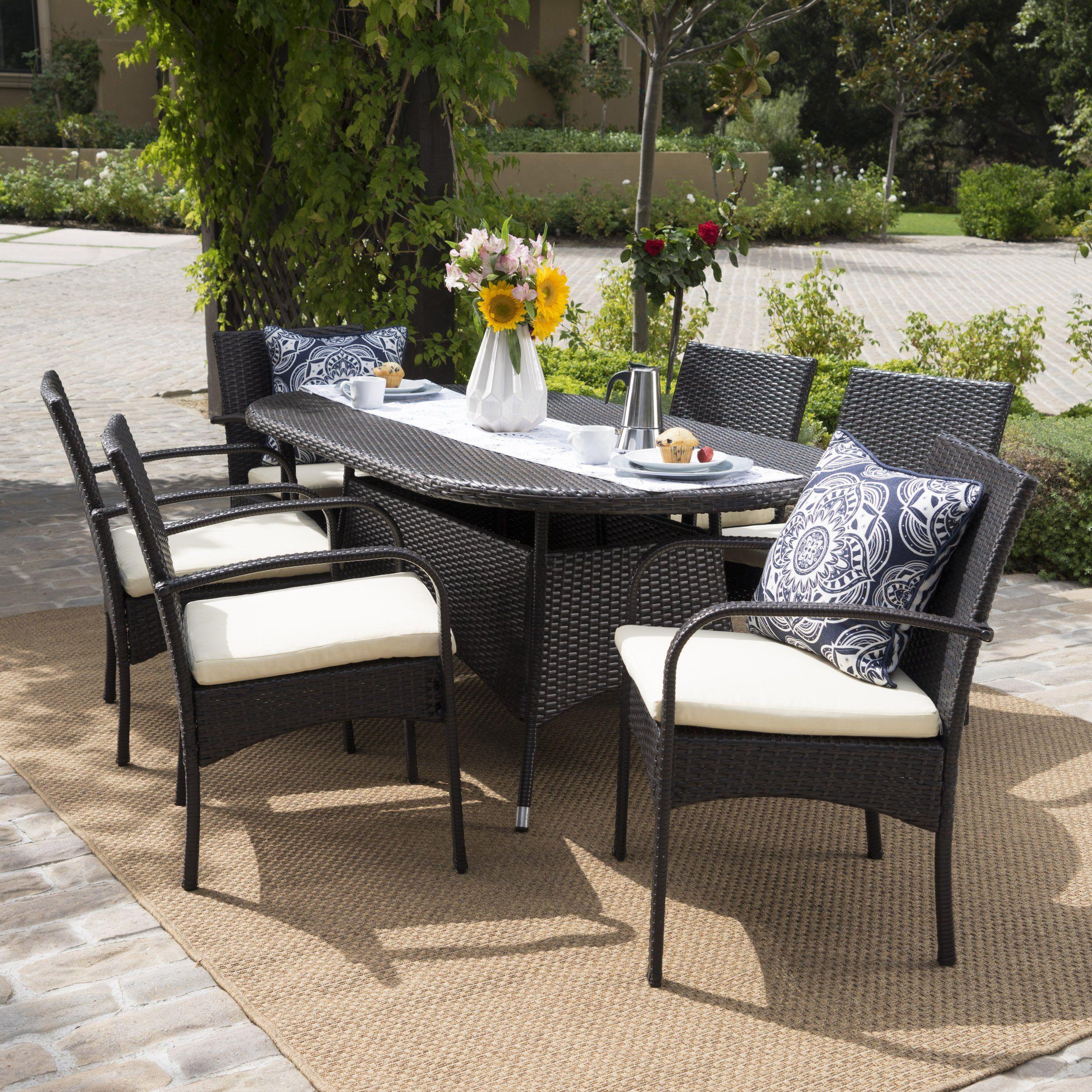 Carmela Outdoor 7pc Multibrown PE Wicker Long Dining Set